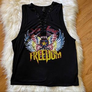 FOREVER 21 BLACK NYC ONE LOVE LACE UP TANK